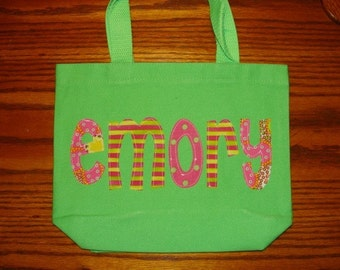 Girl's Personalized Library Tote - kids book bag school name custom birthday gift idea flower girl wedding toy purse