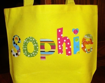 Girl's Personalized Easter Tote - kids tote school name custom birthday gift idea flower wedding unique christmas
