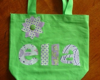 Girl's Personalized Tote (with flower applique)