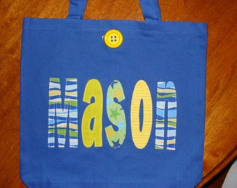 Boy's Large Personalized Tote (with button closure)