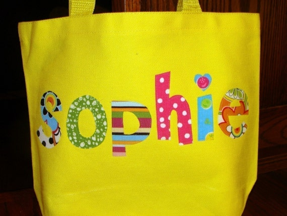 Girl's Personalized Library Bag - kids tote school name custom birthday gift idea flower wedding unique christmas
