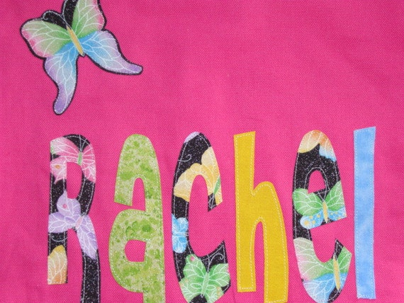 Large Personalized Tote with Butterfly Applique