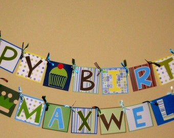 Custom made happy birthday baby shower party banner FREE PERSONALIZATION