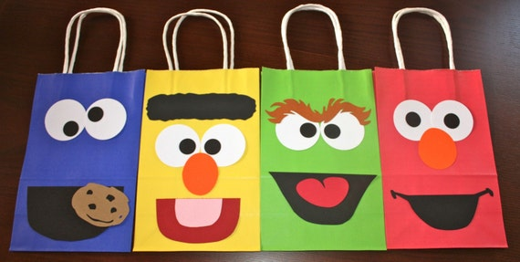 Sesame Street goodie treat bags Elmo Cookie Monster, Bert, Oscar, Ernie, Big Bird
