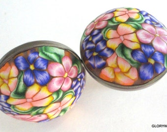 8 Polymer Clay Cabinet Knobs/Pulls  24 AVAILABLE  Pastel Color Flowers purple/yellow/pink