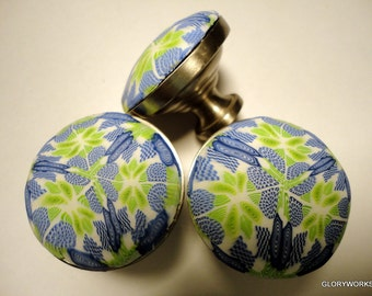 Round Lime Blue cabinet knobs drawer pulls set of ten 10 Handmade cabinet knobs Polymer Clay decorative knobs brushed nickel metal knob