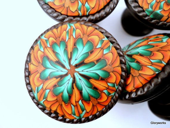 for ANGIE Teal Cabinet Knobs Set of EIGHT  Clay/ Metal