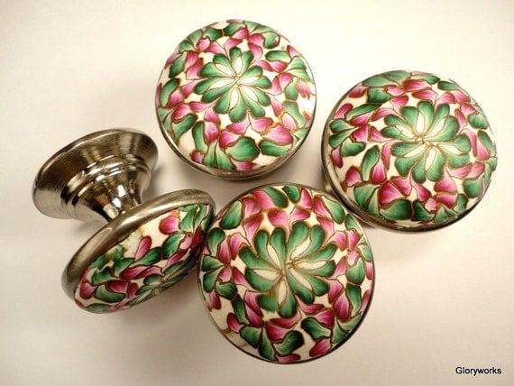 SIX Cabinet Knobs / Pulls       Shades of Cranberry and Green