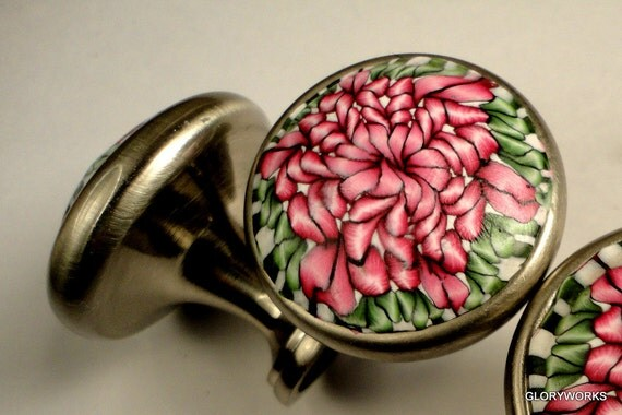 For KAY 7 Cabinet Knobs FOUR. Pink and Green    Three Blue and White