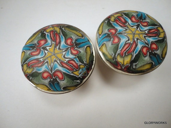 For Catherine 6  Watercolor Cabinet Knobs Pulls    Metal and Polymer Clay