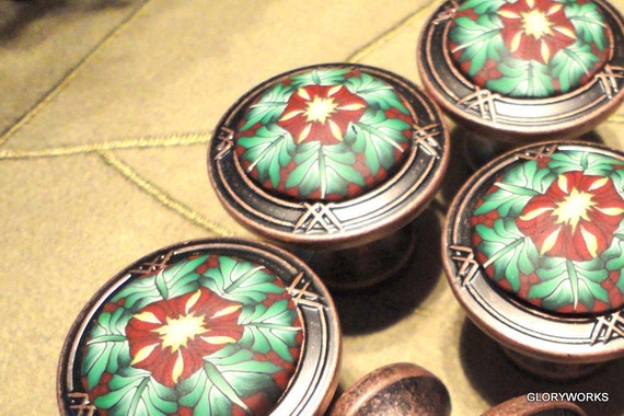 Large 1.50 Inch Diameter  Cabinet Knobs/Pulls  Mahogany and Copper  Set of SIX  polymer clay