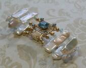 Vintage Blue Topaz and Pearl Bracelet