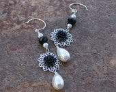 Black Roses and Pearls - Black, White and Silver Dangle Earrings