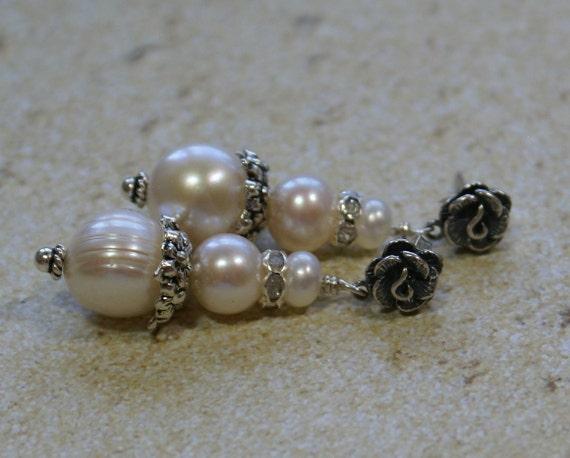 The Wedding Rose Earrings - FW Pearls, Sterling Silver and Swarovski Crystals - Bridal Earrings