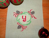 Monogrammed Pinecone Towel Embroidered Christmas Gift Holiday Tea Towel