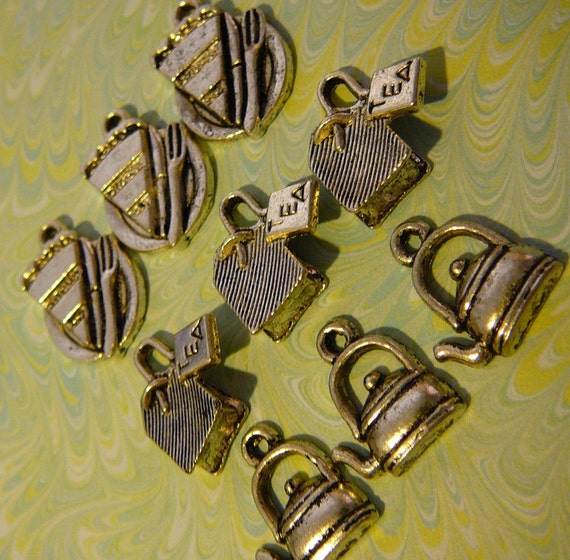 30 Afternoon Tea Charms - Antique Silver/Pewter Charms