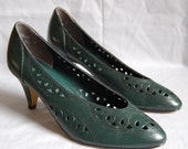 1980s FOREST GREEN cut out pumps 6