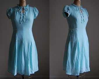 vintage 90s dress / seafoam blue ruffles and bow dress / s / m
