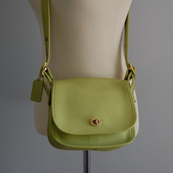 vintage LIME leather COACH flap purse
