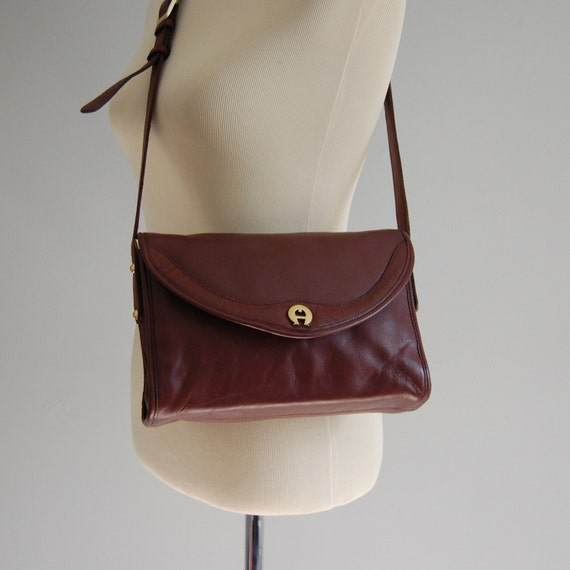 vintage OXBLOOD red leather Etienne Aigner purse