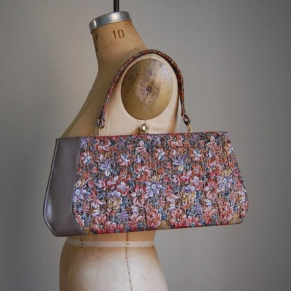 1950s RETRO TAPESTRY floral handbag