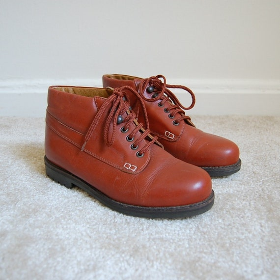1970s PAPRIKA leather lace up ankle boots 6