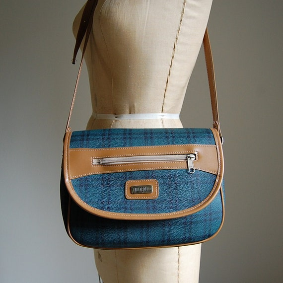 1970s SCHOLASTIC PLAID round cross body satchel