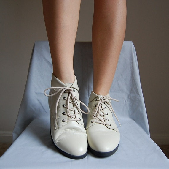 80s IVORY white supple leather foldover boots 9.5