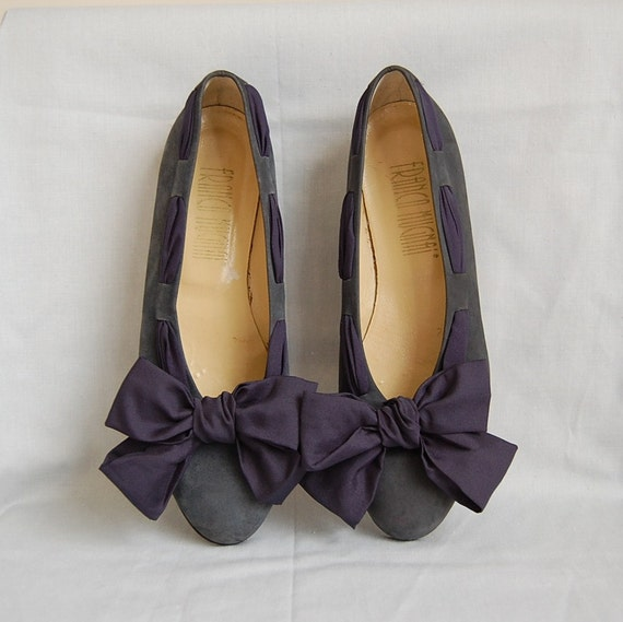1980s FABRIC BOWS suede flats 7