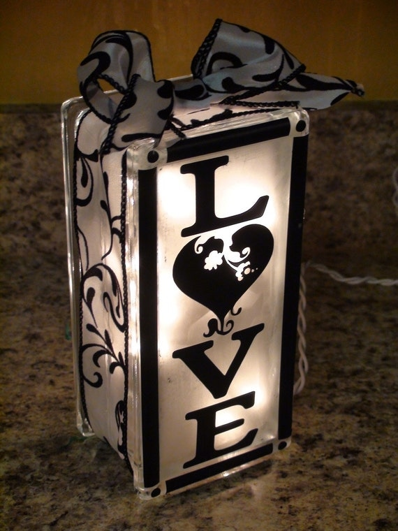 Personalized Lighted Glass Block Decor With Any By