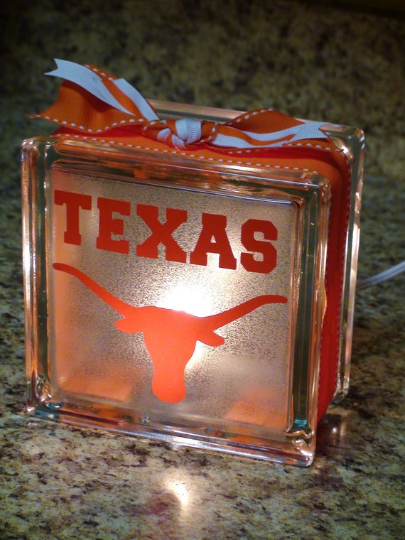College Themed Lighted Glass Block