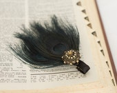 Trio of Peacock Feathers with Vintage Charm (dark blue)