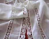 Vintage Pair Cluny Bobbin Lace Curtains Sheer Gossamer Net Panels
