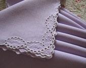 Vintage Antique Napkins Lavender Linen White Eyelets Set 8