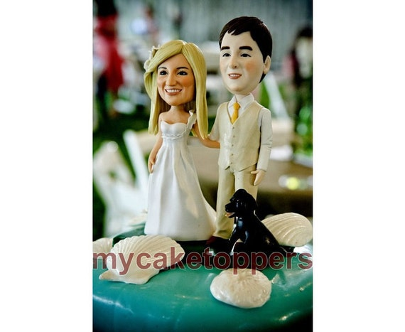 personalized wedding cake toppers, beach, unique wedding cake topper with your gown