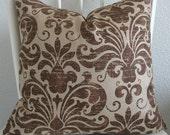 ONE new 18x18 beige, brown, damask, pillow cover, throw pillow, toss pillow, decorative pillow