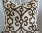 Top Kapi Fawn ikat brown cream decorative pillow cover