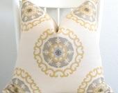 Decorative pillow cover - Throw pillow - Suzani pillow - 20x20 - Cream - Yellow - Suzani - Designer fabric