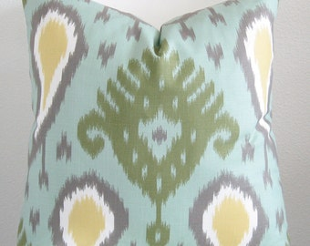 Dwell Studio Batavia Ikat - Aqua Marine decorative pillow cover