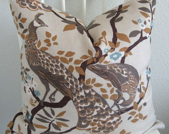Dwell Studio Vintage Plumes Birch Peacock decorative pillow cover