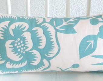 Mini lumbar pillow cover - 8x16 - White - Light Blue - Aviary - Thomas Paul - Cushion cover