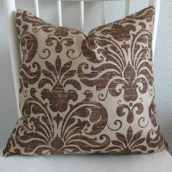 One New 18x18 Beige Brown Damask Pillow Cover Throw