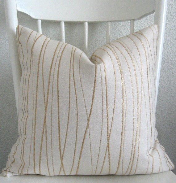 Accent pillow - throw pillow - decorative pillow - 20x20 - ivory and gold wavy stripes - geometric - pillow cover