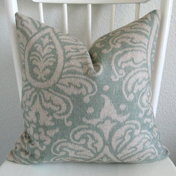 Muted Blue Throw Pillows : ONE new 18x18 light blue ikat print pillow by chicdecorpillows