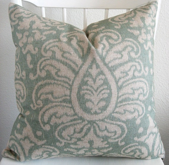 Decorative pillow cover - Throw pillow - Ikat pillow - 18x18 - Light blue - Natural beige