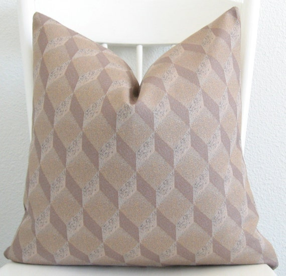 Cube geometric neutral decorative throw pillow cover
