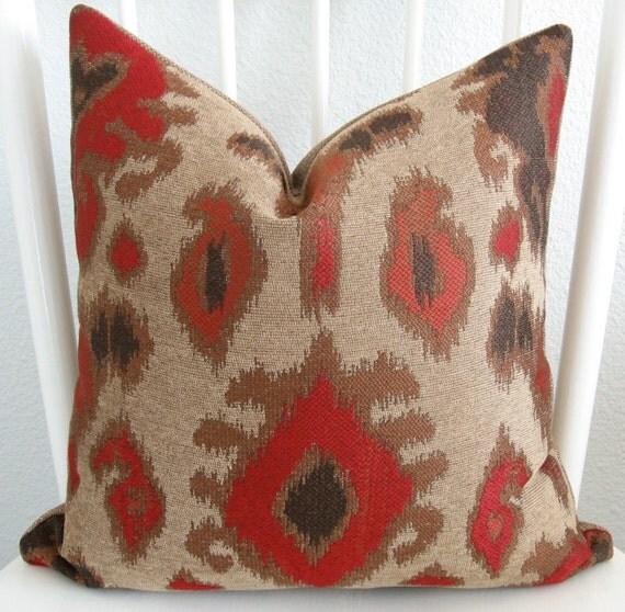 Decorative pillow cover - Throw - pillow - Ikat pillow - 16x16 - Ikat - Taupe - Brown - Red - Designer fabric