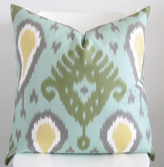 Dwell Studio Batavia Ikat Aqua Marine decorative pillow cover