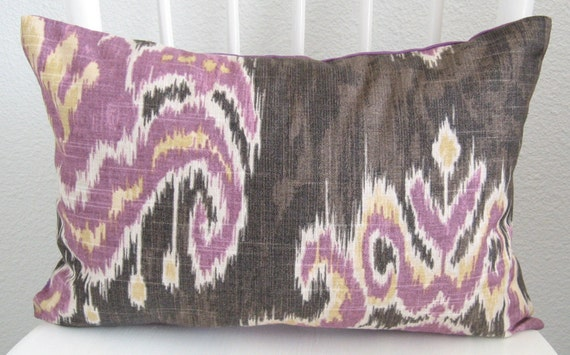 Decorative pillow cover - Throw pillow - Ikat pillow -12x16 - Purple - Marreskesh ikat dusk - Designer fabric