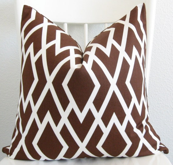 Decorative pillow cover - Throw pillow - Lattice pillow - 20x20 - Brown - White - Lattice - Designer fabric